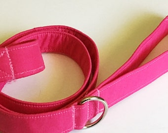 Solid Pink Dog Leash with D Ring Option