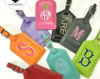 Embroidered Monogram Leather Luggage Tag. Personalized Luggage Tags. Bag Tag. Bridesmaid Gift. Groomsman Gift. Travel Gift. Vacation.