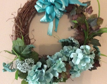 Grapevine wreath aqua Hydrangeas, ribbon, hand made, wreath for front door, door hanger, gift,