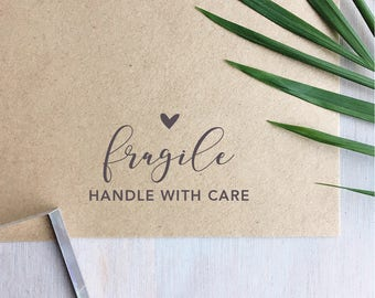 Fragile Stamp | Handle With Care Stamp - Packaging Stamp - Small Business - Gift for Crafter