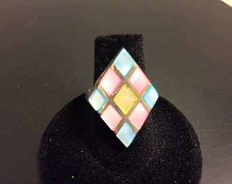 Sterling silver pink yellow blue mother of pearl ring, ladies ring