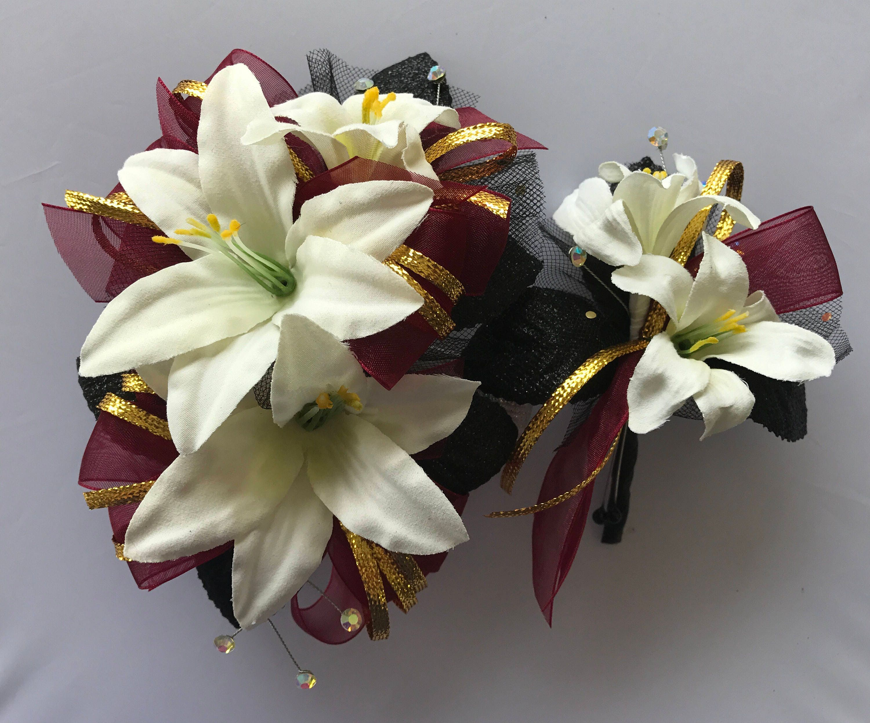 Burgundy gold black corsage set artificial flowers zoom mightylinksfo Choice Image