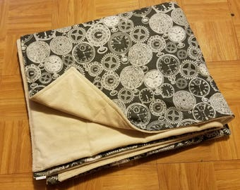 Semi Custom Weighted Blanket - Size LARGE - You choose weight - Time, Clock, Time Lord?