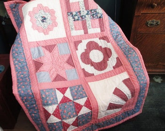 Nostalgic Sampler Lap quilt or throw.  Mauve and blue and cream is comforting combination for anyone