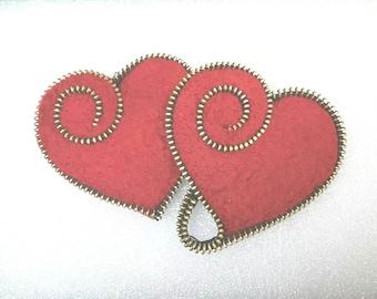 Zipper Heart Brooches - Hand-felted