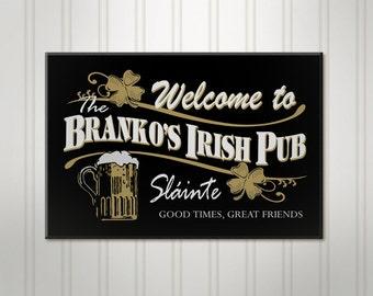 "Large Personalized Irish Pub Sign, ManCave Bar Sign, Personalized Sign, Personalized Beer Sign, Man Cave Decor, 18"" x 24"""