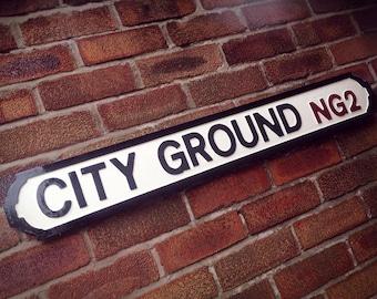 City Ground Vintage Nottingham City Street Sign Football Ground Road Sign