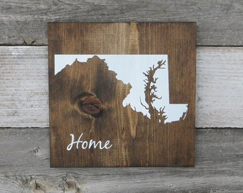 """All States Available, Rustic Hand Painted """"Home State"""" Wood Sign, Maryland State Home, Home State Pride - 9.25""""x9.25"""""""