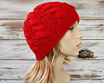 Instant Download Knitting Pattern - Womens Beanie Pattern Mens Beanie Pattern - Knit Hat Pattern Edison Cable Beanie - Womens Hat Mens