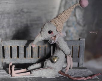 Art doll mouse Rat figurine Miniature animals little mice ooak by Ratberry Creepy doll rat with gnome knit hat Easter gifts decorations toy
