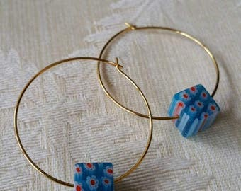 Deliciously Lightweight Gold and Blue Glass Hoop Earrings