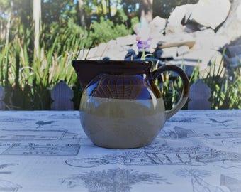 Vintage Brown Drip 3 Tone Stoneware Creamer