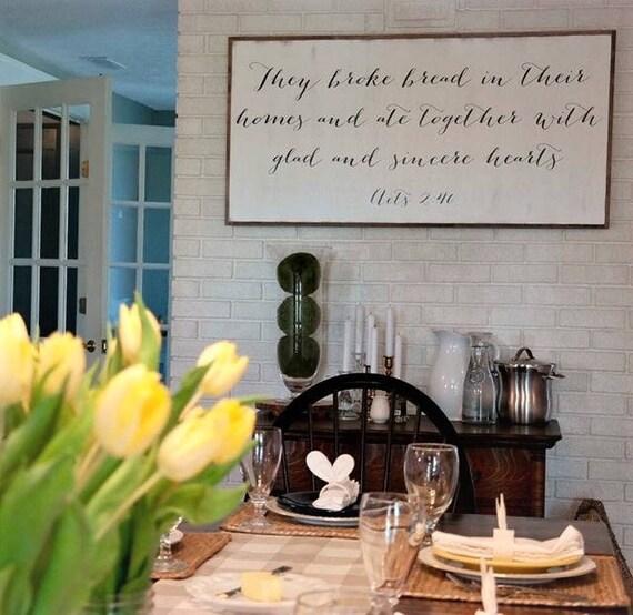 BROKE BREAD 2X4 sign | farmhouse dining room decor | shabby chic solid wood wall art