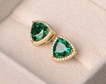 Emerald earrings, trillion cut emerald, halo earrings, earrings emerald, yellow gold plated