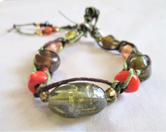 Fall Path, Women's Braided and Beaded Bracelet