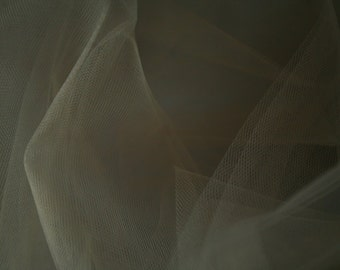 "Light Grey/ Silver Tulle Fabric 56"" Wide Per Yard"