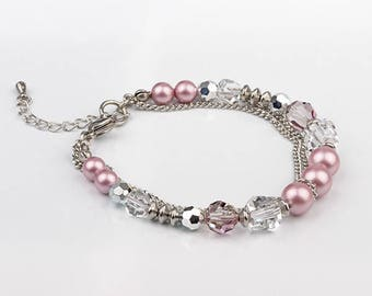 Bracelet beads and Swarovski crystals, stainless steel