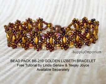 Bead Pack BB-210 Golden Lizbeth Bracelet, Free Tutorial by Teejay Joyce and Linda Genaw Available Separately, BB210 Golden Lizbeth Bead Pack