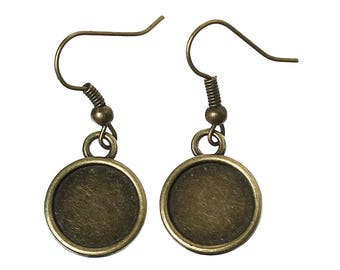 10 pairs earrings Bronze 12mm - SC36071 cabochon-