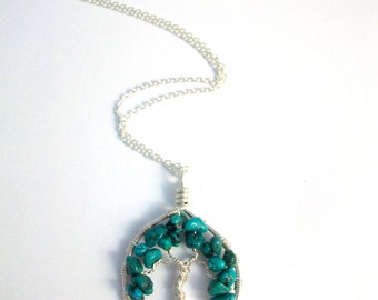 Turquoise tree necklace, 925 Sterling Silver leaf pendant, nature inspired, ethical jewellery