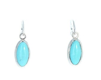 40% Off Earring Sale : ) MEXICAN TURQUOISE Earrings Robins Egg Blue Sterling Large Ovals NewWorldGems