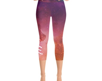 Beatles Yoga Pants Capri Length Women's Leggings Jai Guru Deva Om Across the Universe Pilates Gift for Her
