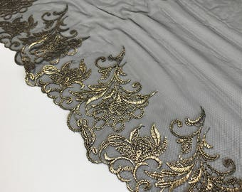 """BLACK & GOLD, 9"""" Wide, Embroidered Lace Trim, BTY By The Yard"""