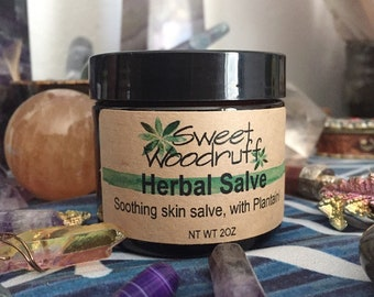 Organic Herbal Salve, Herbal Salve, Green Salve, Plantain Salve, Comfrey Salve, Compound Salve, All Purpose Salve