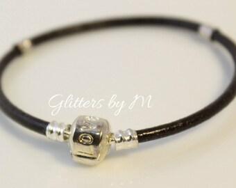 Brown Espresso Color Leather European Charm Bracelet With Love Clasp