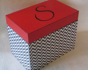 Recipe Box - 4 X 6 or 5 X 7 Wood Recipe Box -  Black Chevron and Red Wooden Recipe Box - Custom Recipe Box - Personalized Recipe Box - Gift