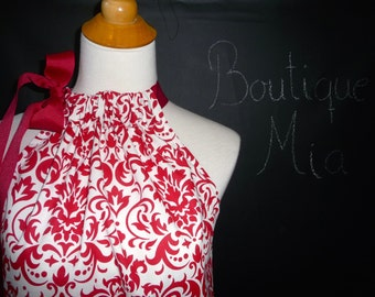 Pillowcase DRESS or TOP - Deep Red & White - Damask - Made in ANY Size - Boutique Mia