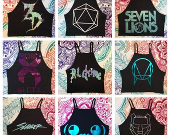 High Neck Style- Custom EDM/Rave Crop Top (please read item details before ordering)