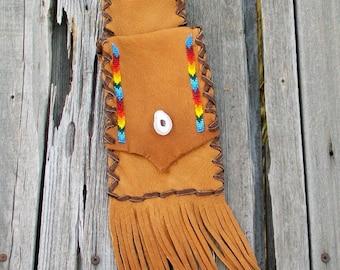 Fringed phone bag , beaded leather hip bag , phone bag , native style hip bag , leather belt bag , festival bag by thunderrrose