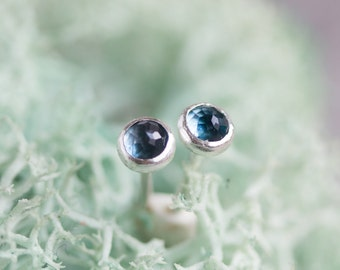 London Blue Topaz stud earrings, December Birthstone, 3mm or 5mm, sterling silver or 14k gold filled