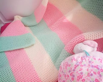 Merino baby blanket, soft baby throw, baby afghan, striped baby blankie, knit newborn throw, knit swaddle wrap, baby wrap, baby gift, throw