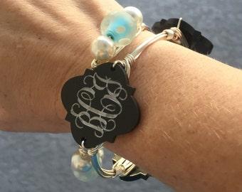 Monogram Wire Wrapped Bangle Bracelet Custom Etched Bangle Bracelets *Bourbon and Boweties Inspired*