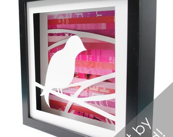 songbird shadowbox- made from recycled magazines, pink, pretty bird, nature