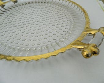 Bubble Glass Serving Tray - Handles With Gold Trim