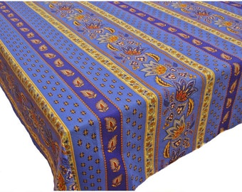 French Country Lisa Blue and Yellow Floral Tablecloth