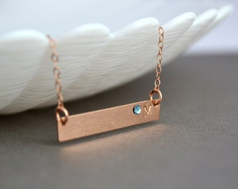 Rose Gold Bar Necklace, Personalized Gold Bar Necklace with Swarovski Crystal Birthstone, Initial Bar necklace
