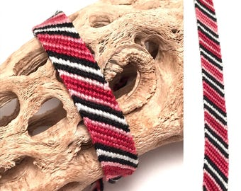 Friendship bracelet - candy stripe - knotted - woven - macrame - braided - embroidery floss - string - thread - maroon - black - white