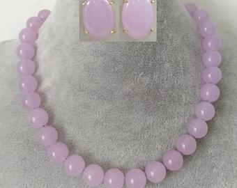 jade set- 12 mm light purple jade necklace & earrings set,magnet clasp