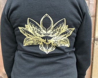 The Lotus - Organic Cotton Zip-Up Hoodie / Hoodie / Women's Organic Sweatshirt / Lotus Design / Black and Gold / Sacred Geometry / Flower