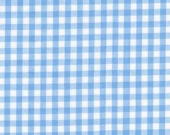 Carly LIGHT BLUE Mini Checkered Gingham Poly Cotton Fabric by the Yard - 10114