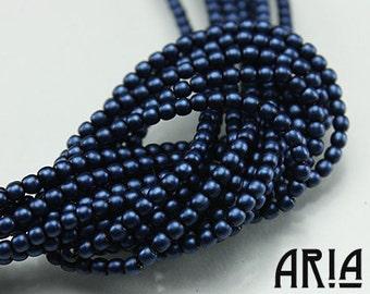 DARK BLUE SATIN: 2mm Czech Glass Pearl Beads (150 beads per strand)