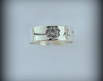 Dandelion ring, Sterling silver Dandelion band ring. Band, Dandelion jewelry