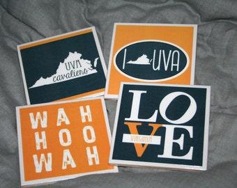 4 University of Virginia Cavaliers Coasters