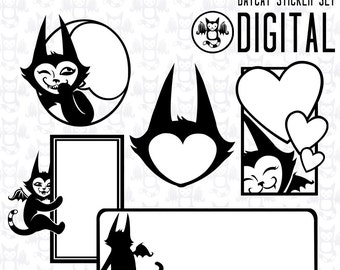 Batcat Stickers - Instant Digital Download graphics for your personal use - 5 Images plus printable  sheet