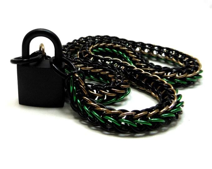Unisex Camouflage BDSM Slave Collar Black, Green, Tan with Black Padlock