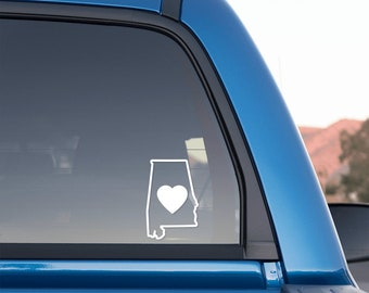 Alabama Love Outlined Sticker for Cars and Trucks